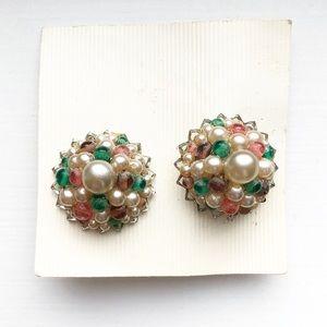 Vintage bead & pearl bauble clip-on earrings